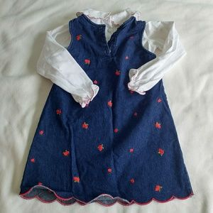 Dresses - 2 piece denim jumper dress with embroidered cherry